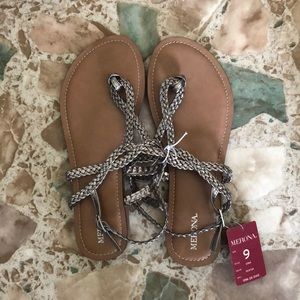 Brand New! Merona Silver Metallic Flat Sandals - 9